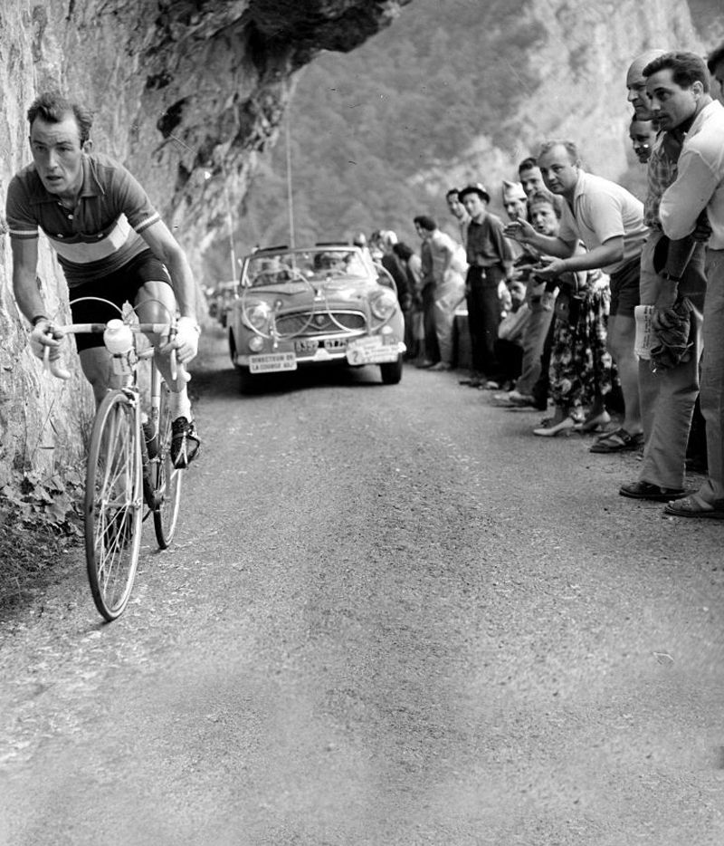 A dapper roadside cheers on Charly gaul
